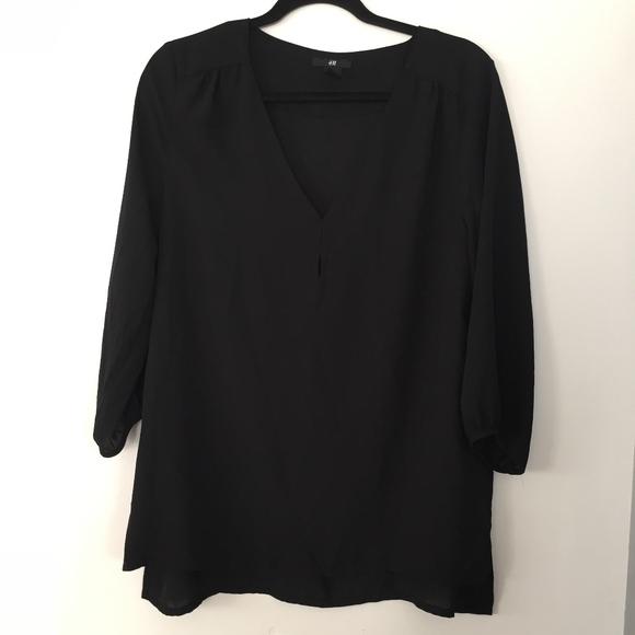 f805e401e308 H&M Tops | Hm Black V Neck 34 Sleeve Blouse | Poshmark